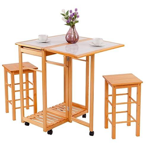 COSTWAY Küchentisch auf Rollen + 2 Stühle Essgruppe Sitzgruppe ...