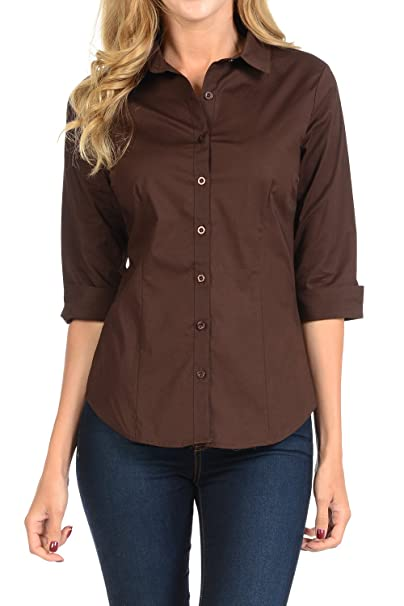 beautiful and charming cheap extremely unique YourStyle Stretch Button Down Shirt-3/4 Sleeve