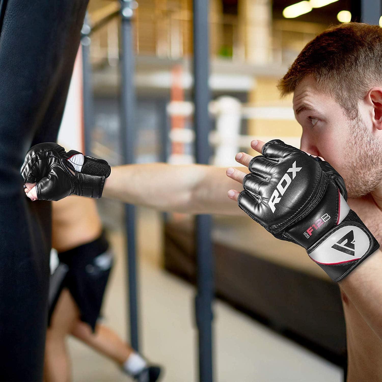 Muay Thai Sparring Fingerless per Allenamento RDX MMA Guanti Maya Cuoio Grappling Guantoni Sparring Sacco Protezione Polso Knuckle Kickboxing Arti Marziali Miste