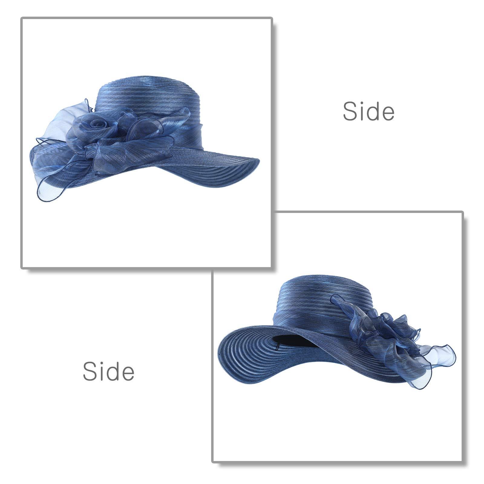 WELROG Women's Derby Church Dress Hat - Wide Brim Floppy Floral Ribbon UPF Protection Wedding Sun Hats(Navy Blue) by WELROG (Image #3)