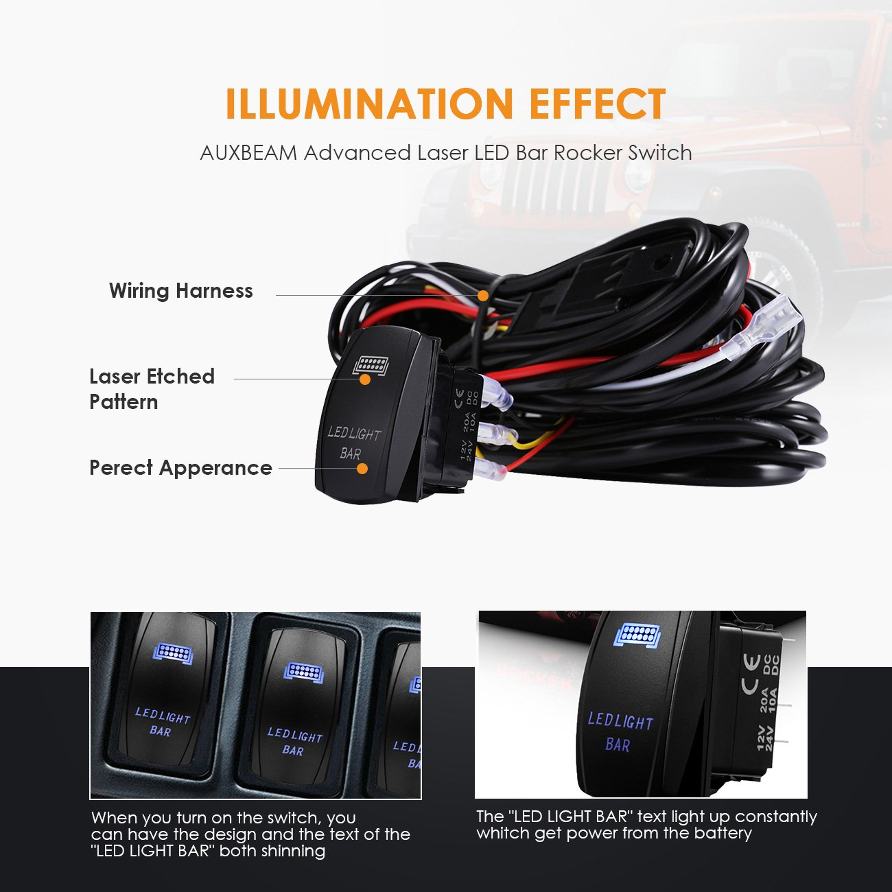 Auxbeam Led Light Bar Rocker Switch With 3pcs Switching Lines Wiring 24v Kit Loom Harness 40a Relay Fuse And 70025491 Side Marker Turn Signal Combos