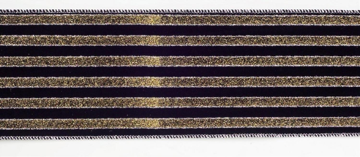 Black and Gold Glitter Striped Wired Craft Ribbon 4'' X 60 Yards