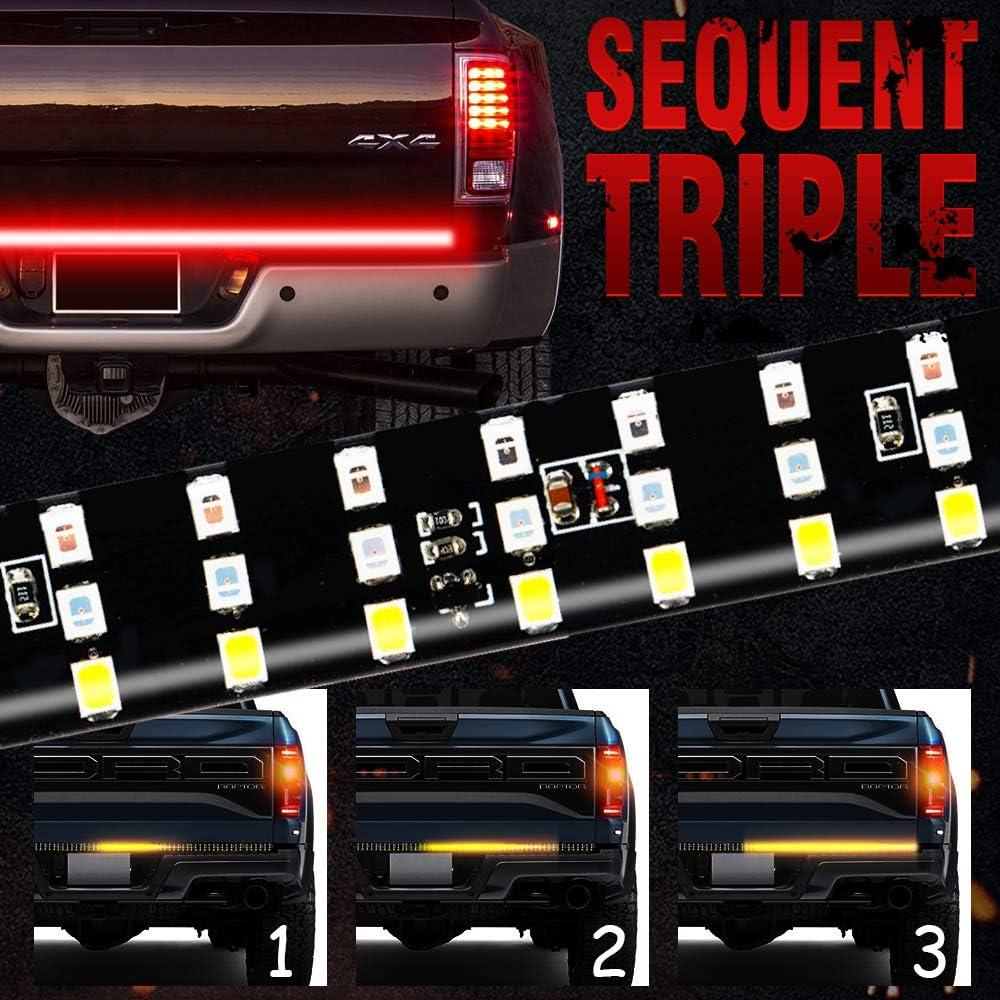 MIHAZ LED Tailgate Light Bar Brake No Drill Install 1yr-Warranty 48 Triple Row 5-Function Strip Light Running Sequential Amber Turn Signal Reverse Tail Light for Pickup Trailer SUV RV VAN