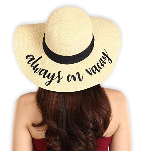 072d186e3 Floppy Beach Sun Hat for Women - Large Brim Embroidered Summer Straw Hat  for Vacation, Cruises, Honeymoon & Travel