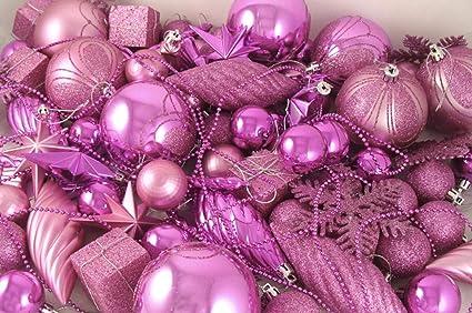 Pink Christmas Ornaments.Amazon Com Northlight 125 Shatterproof Bubblegum Pink