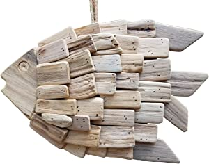 """LARGE GORGEOUS 13.5"""" x 9"""" HANDCRAFTED DRIFTWOOD FISH WALL ART TROPICAL BEACH HOME DECOR WITH ROPE HANGER!"""