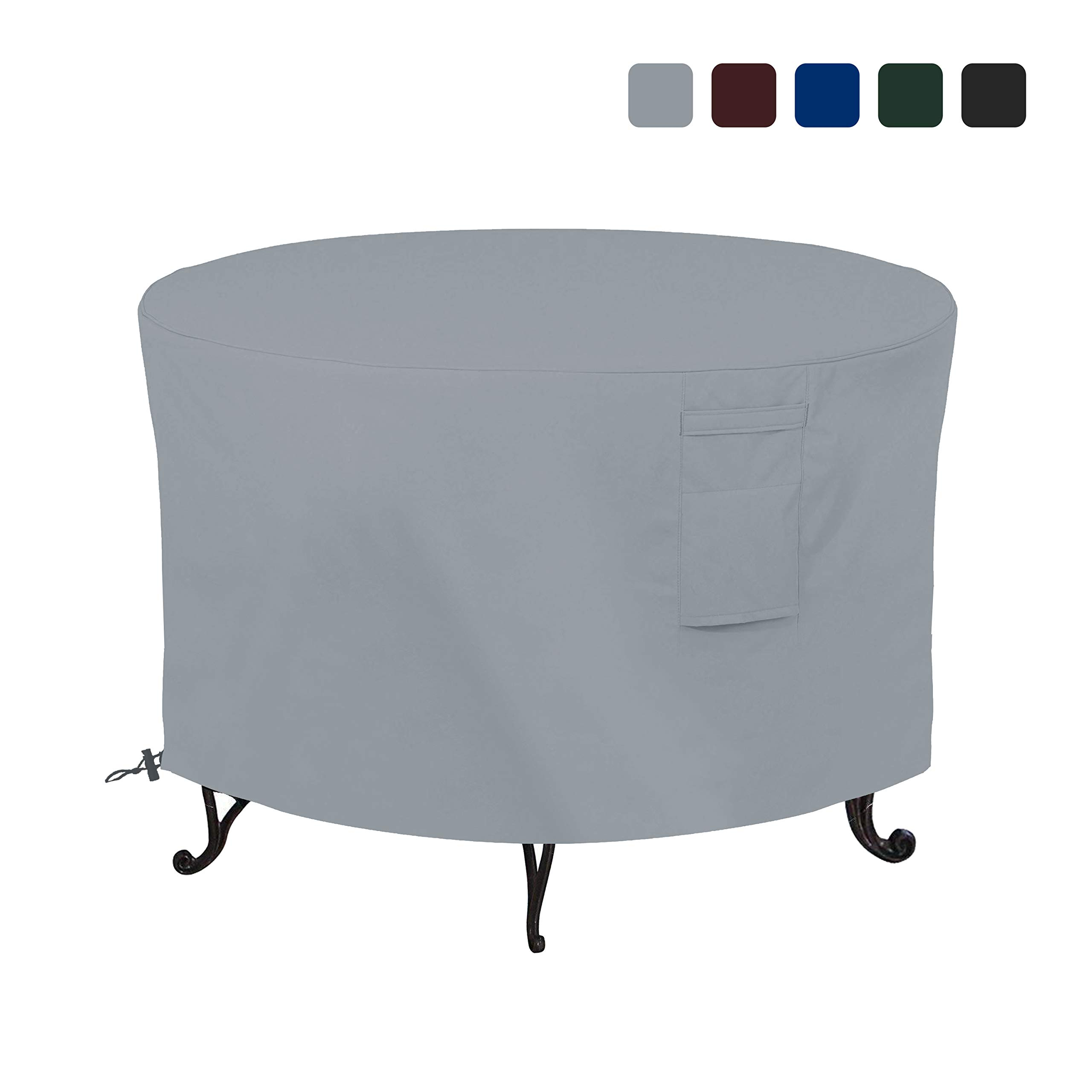 Firepit Covers Round 18 Oz Waterproof - 100% UV & Weather Resistant Full Coverage Custom Size Firepit Cover with Air Pockets & Drawstring for Snug Fit (58 Inch, Grey) by COVERS & ALL