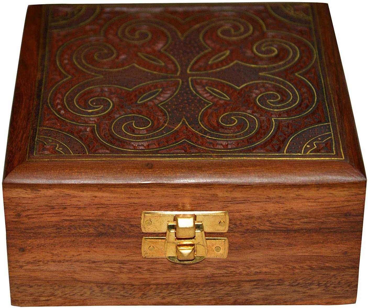 Indian Handicrafts Export DronaCraft Jewellery Box Square Shape Wood Carving with Floral Brass Inlay Design: Amazon.es: Hogar