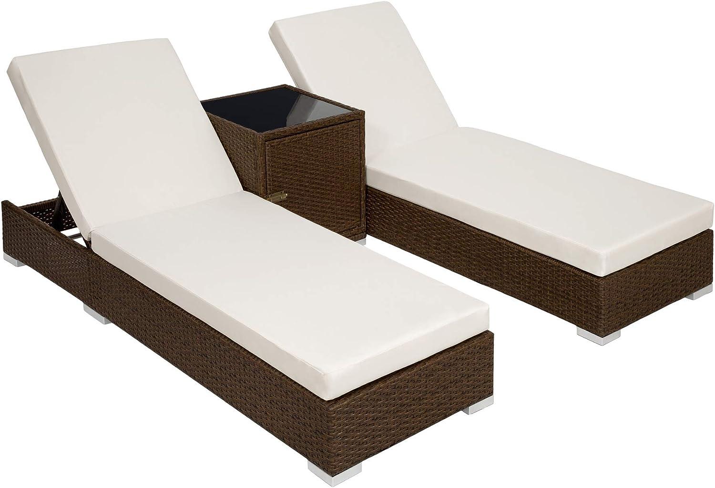 TecTake 800153 2X Tumbona Chaise Longue de Aluminio Poli Ratán + Mesa de Jardín + 2 Set de Fundas Intercambiables + Funda Completa (Marrón Antiguo | No. 401818)