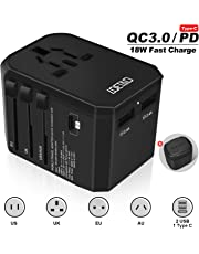 LOETAD Travel Adapter International Power Adapter QC3.0 PD Fast Charge Type C USB C Worldwide Use for AU US EU UK JP