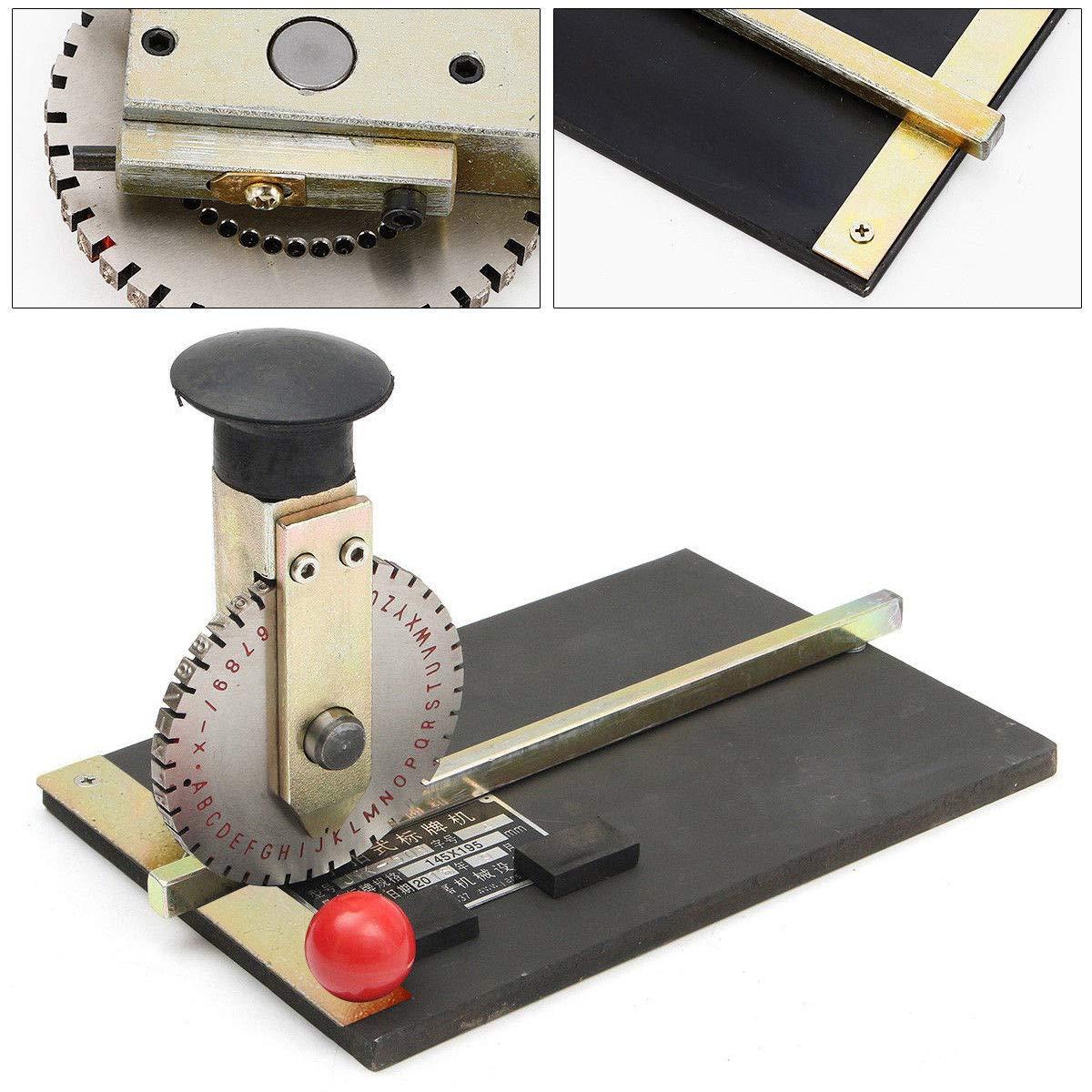 Manual Embossing Machine,Metal Embosser Alphanumeric Plate Stamping Dog Tag Embossing Marking Machine Printer with 2.0mm-5.0mm Print Wheel