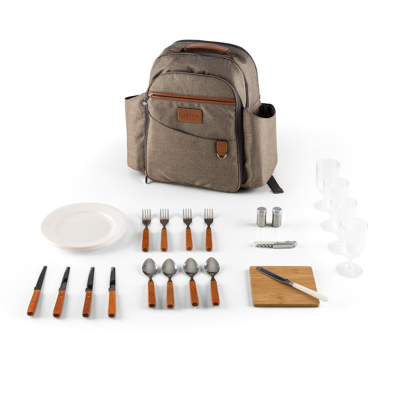 Klarstein Halford Rucksack Picknick-Rucksack (Geschirr und Besteck für 4 Personen, Schneidebrett, Käsemesser, Polyester, Thermotasche) braun