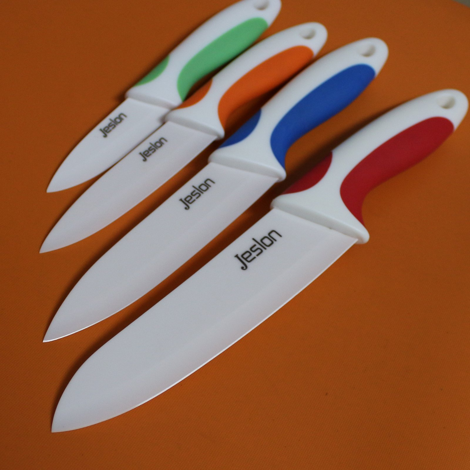 Jeslon Chef Knives Set, 4 Piece Multi Color Ceramic Knives, 3inch Paring Knife, 4inch Fruit Knife, 5inch Utility Knife, 6inch Chef Knife