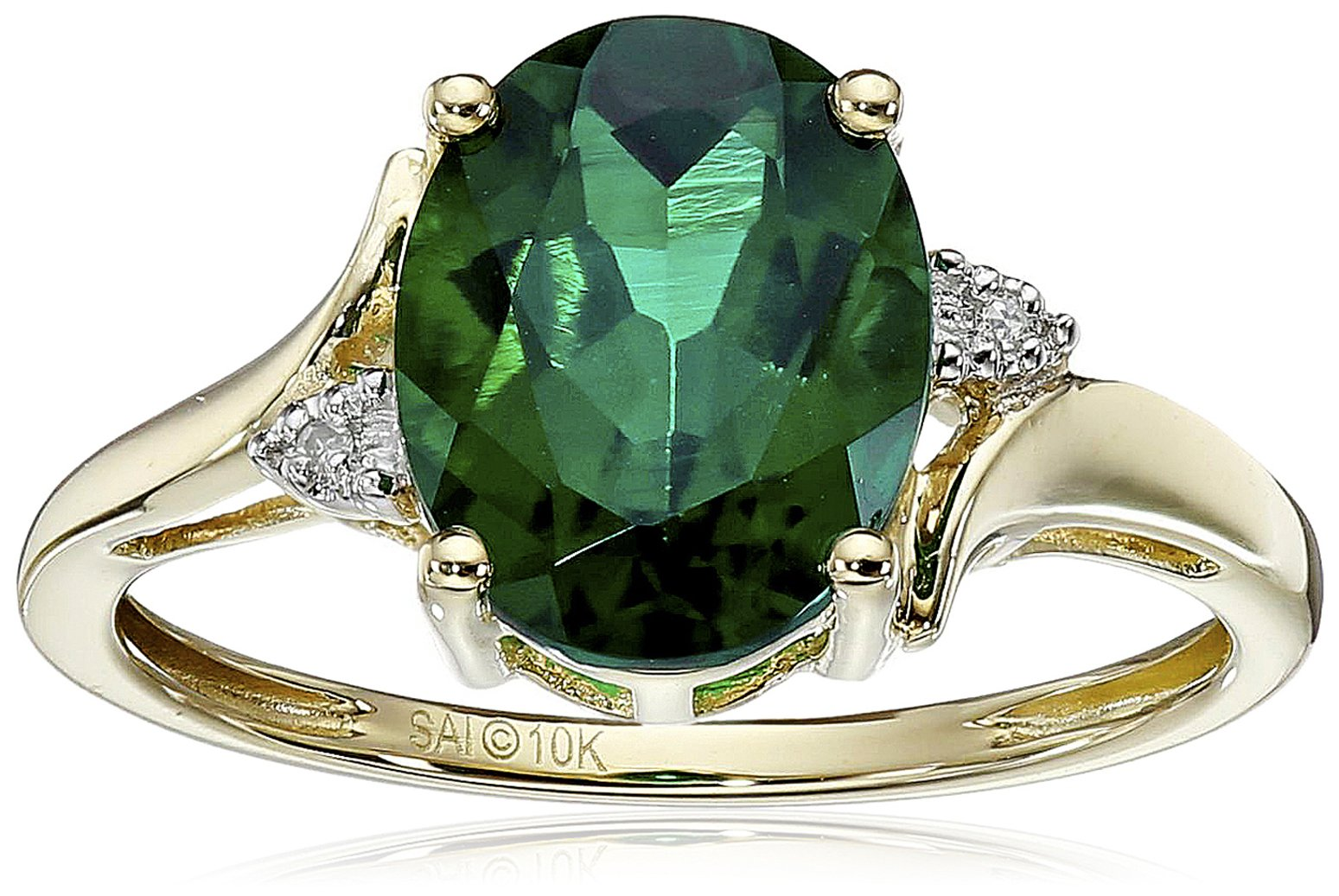 10k Yellow Gold Created Emerald and Diamond Oval Ring, Size 8