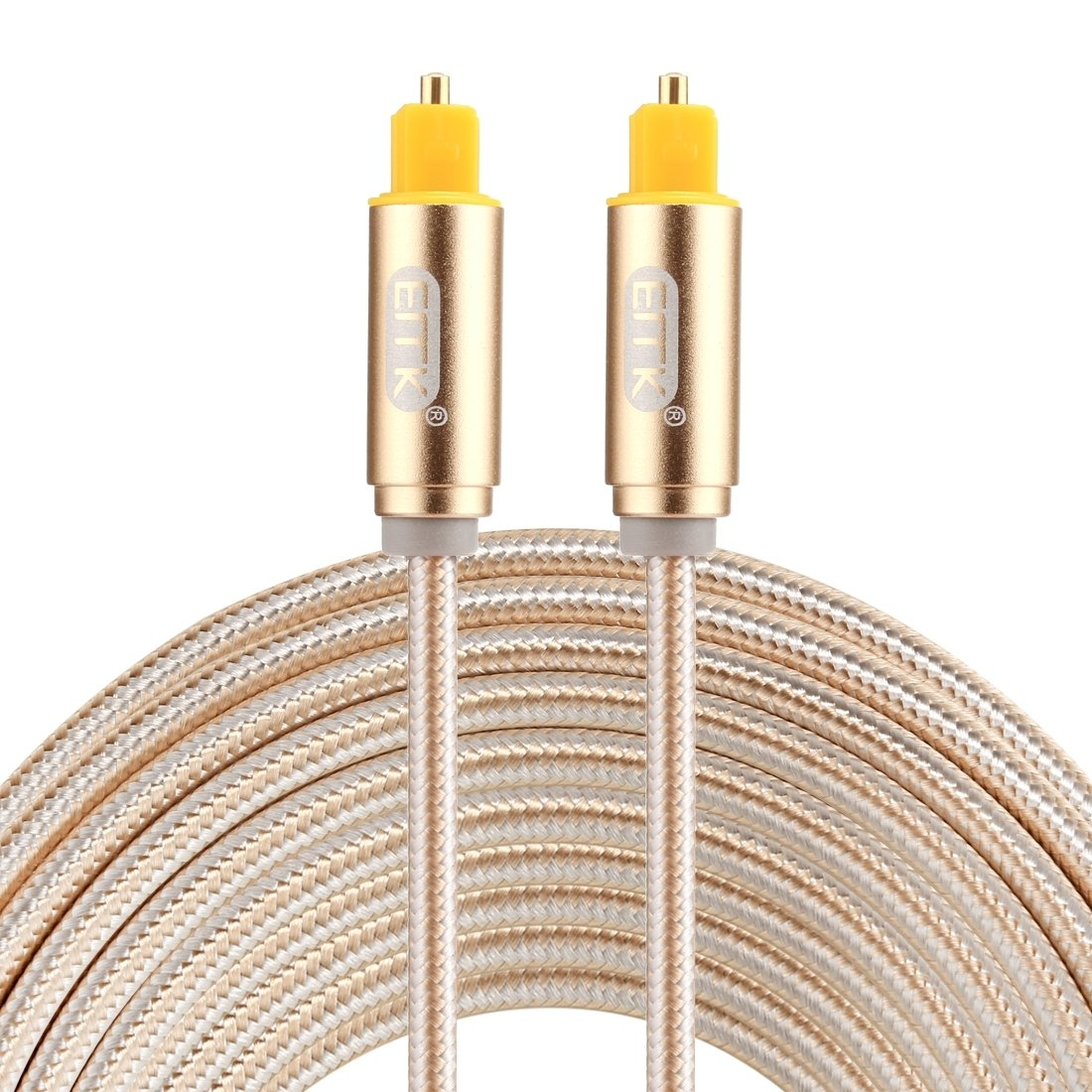 EMK 5m OD4.0mm Gold Plated Metal Head Woven Line Toslink Male to Male Digital Optical Audio Cable Color : Silver Optical Cables