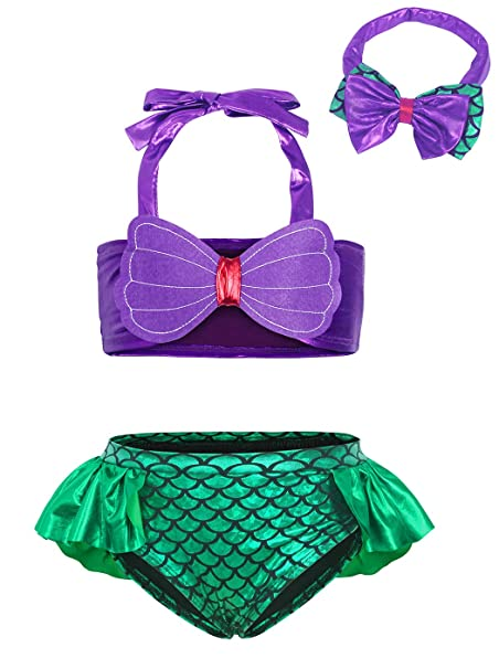 88fb273587ce8 Cotrio 3Pcs/Set Kids Toddler Baby Girl Mermaid Swimsuits Tankini Swimming  Suit Halter Swimwear Bikini