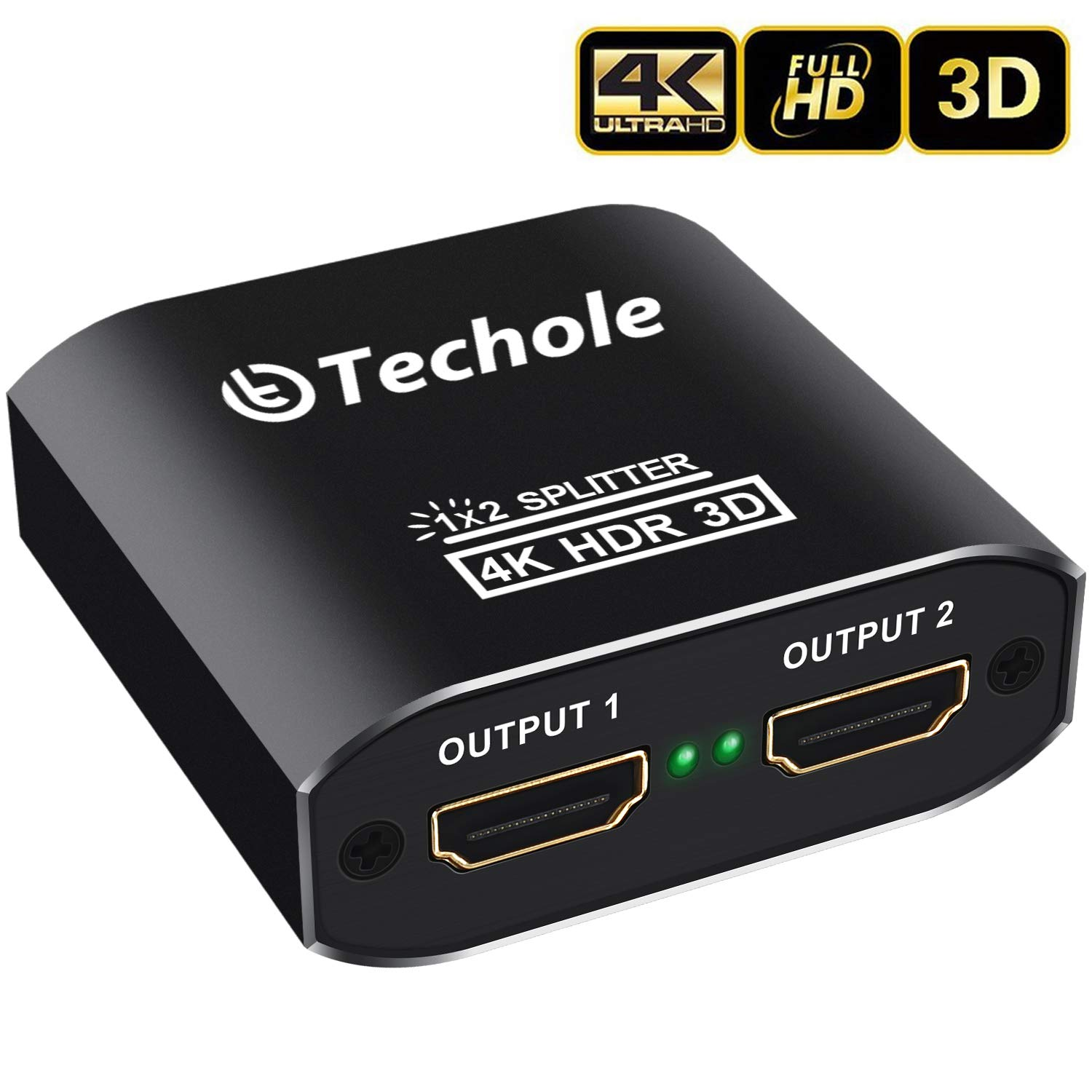HDMI Splitter 1 In 2 Out - Techole 4K Aluminum Ver1.4 HDCP, Powered HDMI Splitter Supports 3D 4K Full HD 1080P for Xbox PS4 PS3 Fire Stick Roku Blu-Ray Player Apple TV HDTV - Cable Included