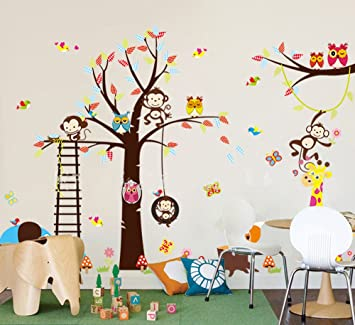 haya TM Lovely blooms zoo nursery children's room decorative wall stickers  Kids Vinyl Sticker Home Decoration&quot