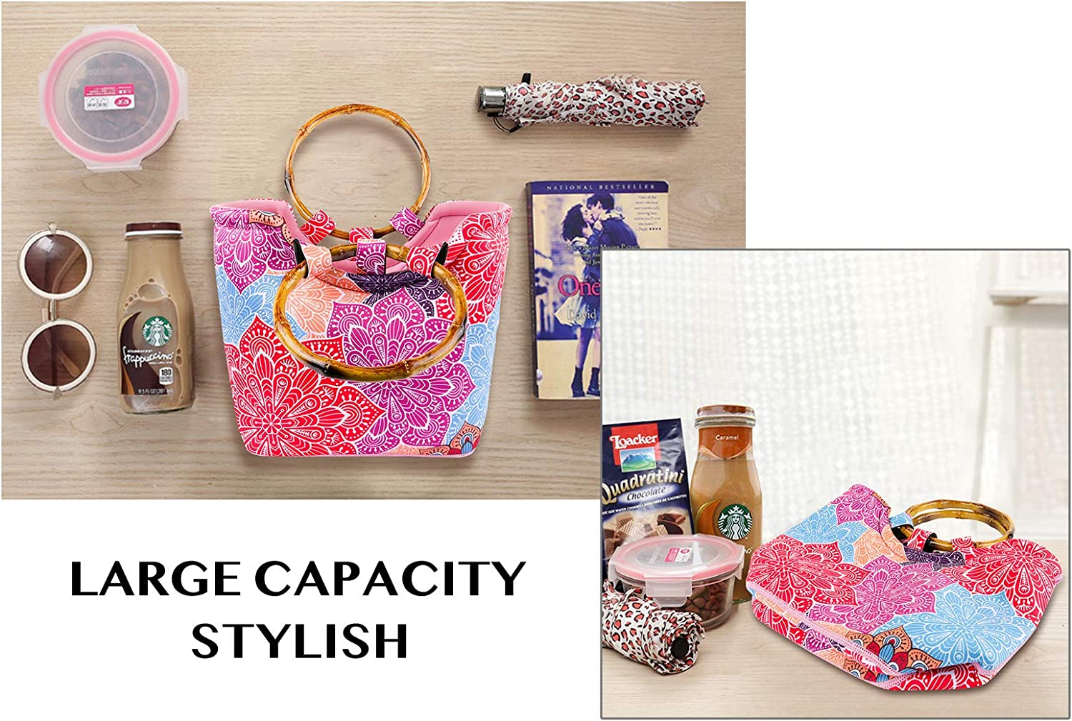 Neoprene Lunch Bag for Women Reusable Tote Bag Insulated Lunch Box Adult Large Fordable Lunch Tote Handbag