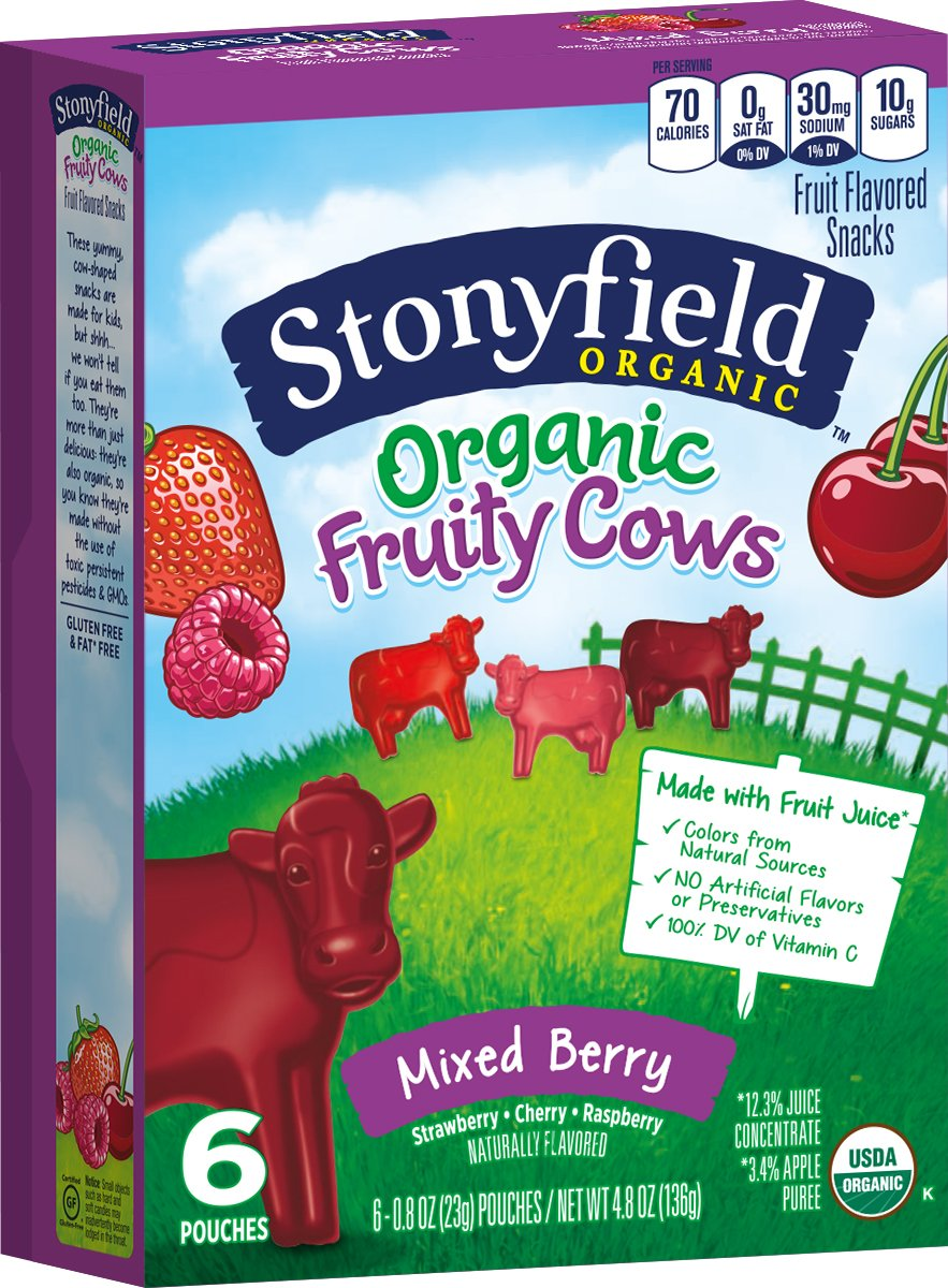 Stonyfield Organic Fruity Cow Snacks, Mixed Berry Flavors Box, 4.8 oz