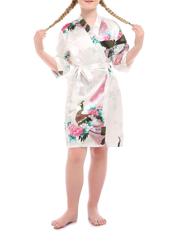 missfashion Girl's Satin Printing Peacock Kimono Robe for Wedding Birthday(8,White)