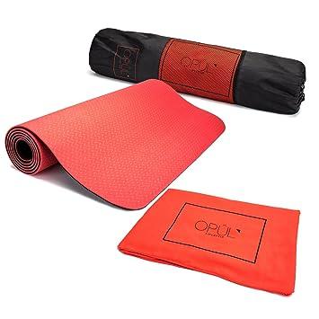 Opul Esterilla Yoga Antideslizante - Colchoneta de Ejercicio para Pilates con Doble Capa, Toalla 100% Microfibra ...