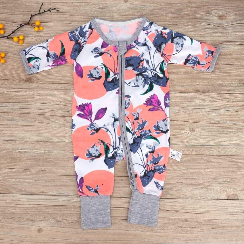 Everpert New Baby Long Sleeve Romper Newborn Girl Boy Purple Floral Cotton Jumpsuit