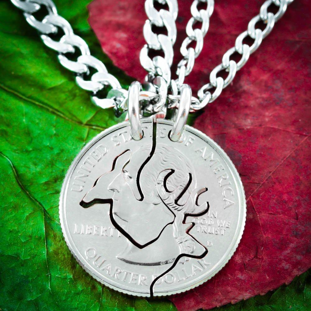 Amazon.com: Buck and Doe Necklace Set for Couples, Interlocking ...