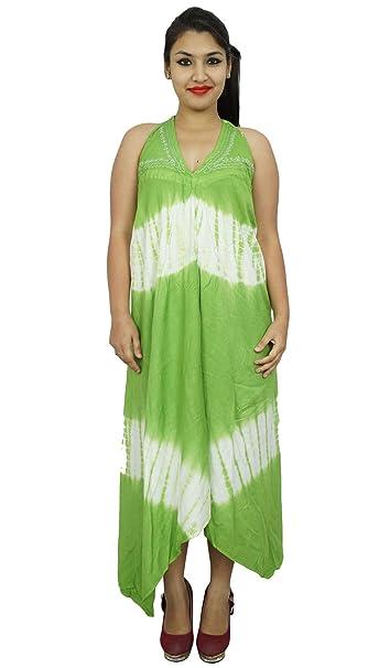 Alineada étnica Rayon mujeres verdes ropa de sport de la túnica bordada india Kurti