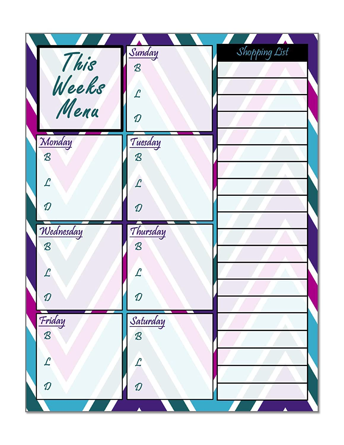 Easy To Use Dry Erasable For Refridgerator Weekly Meal Menu Planner
