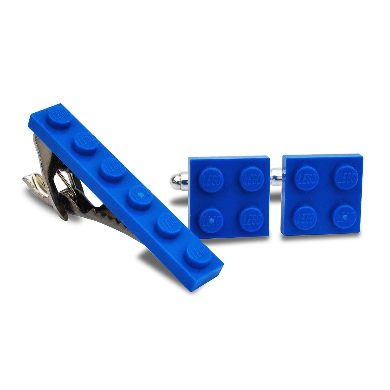 LEGO/® plaque Boutons de manchette et pince /à cravate Ensemble de mariage Coffret cadeau pour homme Bleu mari/é