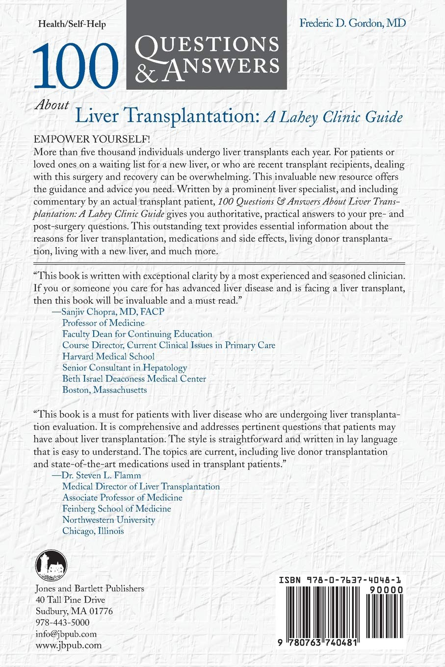 100 Questions & Answers About Liver Transplantation: A Lahey Clinic Guide:  Fredric Gordon: 9780763740481: Books - Amazon.ca