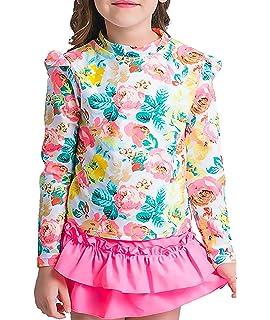 e8b433e0d9 Baby Girls Kids 3 Piece Long Sleeve Floral UV Sun Protection Rash Guards  Swimsuit Bathing Suit
