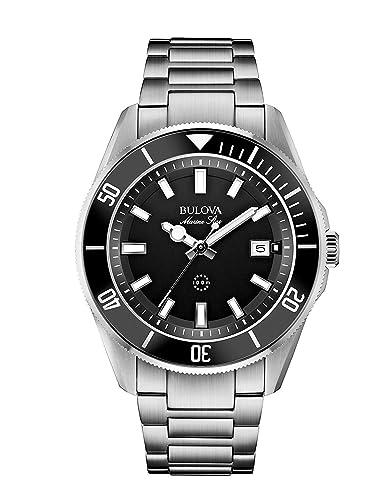 Bulova Marine Star 98B203 - Reloj de Pulsera de Diseño para Hombre - Resistente al Agua - Acero Inoxidable - Esfera Negra: Amazon.es: Relojes