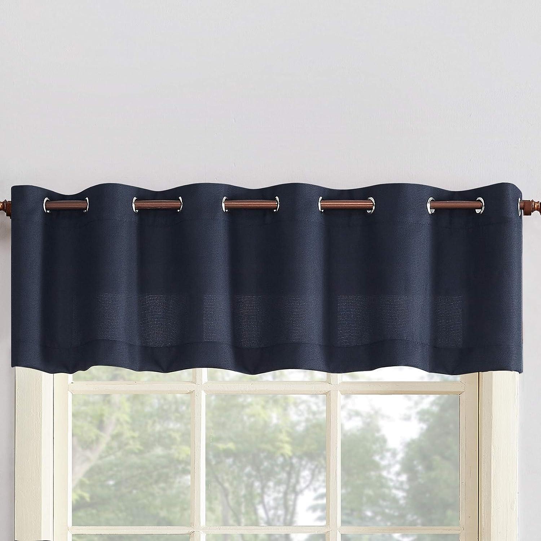 Amazon Com No 918 Montego Grommet Textured Kitchen Curtain Valance 56 X 14 Navy Blue Home Kitchen