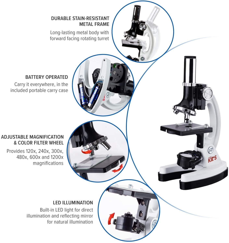 52-pcs Kids Beginner Microscope STEM Kit with Metal Body
