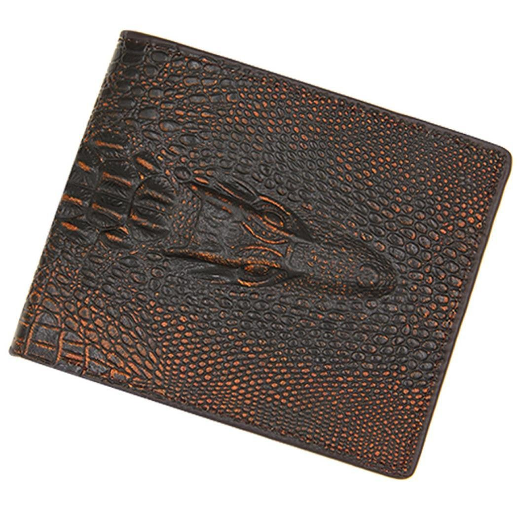 Men's Casual Fashion Alligator Pattern Two-Folded Magnetic Buckle Short Wallet