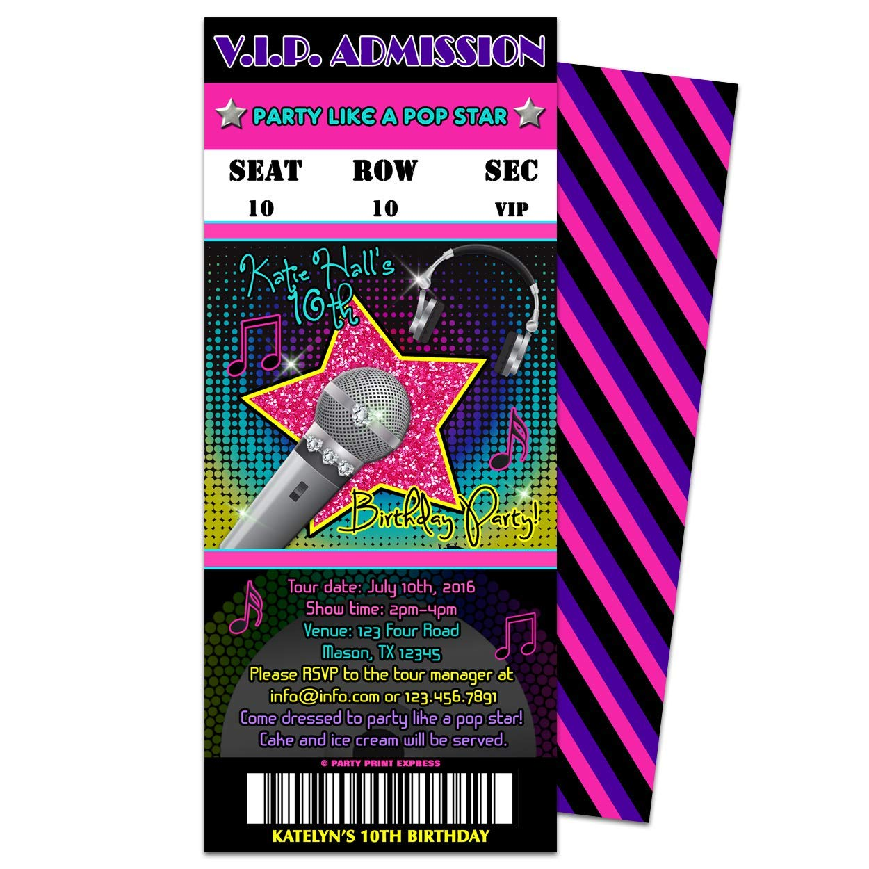 Amazon Girl Pop Star Birthday Invitations Admission Ticket Karaoke Neon Pink Hip Hop Handmade