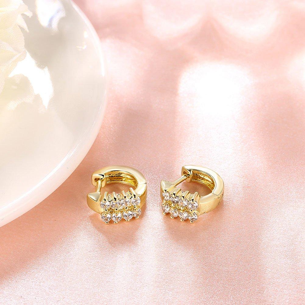 Amazon.com: Fashion Hoop Earrings Double Row Rhinestone Floral ...