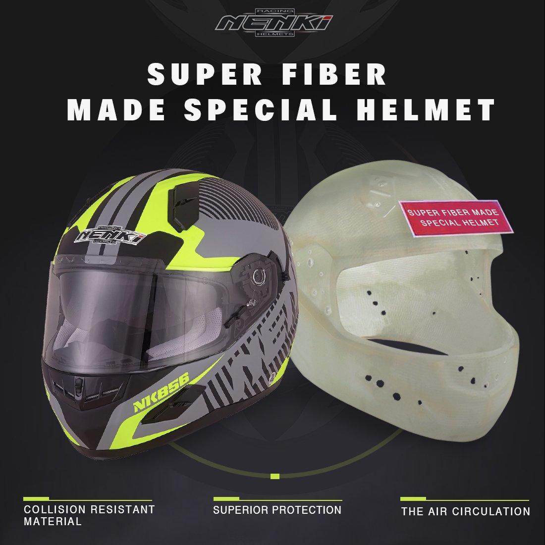 Nenki NK-856 Casco integral para motocicleta con doble visera, con certificación ECE, color Negro Mate Amarillo Fluorescence, tamaño Large: Amazon.es: ...