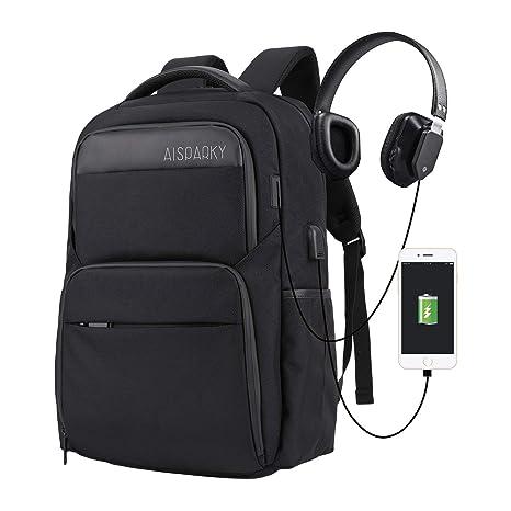 AISPARKY - Mochila para ordenador portátil, antirrobo, resistente al agua, con puerto de carga USB e interfaz de auriculares para estudiantes universitarios ...