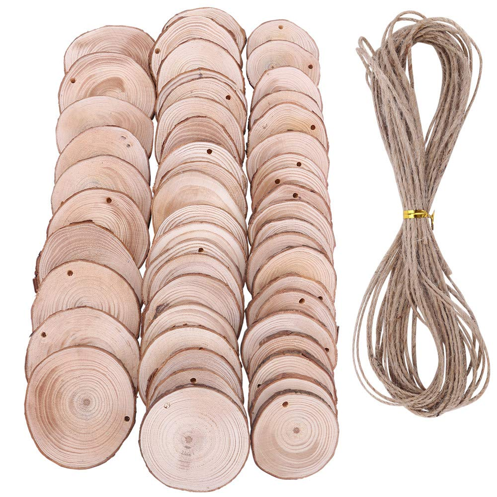 50 Pieces Wood Slices Predrilled NaturaL Unfinished Round discs with 33 Feet Natural Jute Twine Holes Round Log Discs for Christmas Ornaments and gift tags Home Hanging Decorations - 2.36 - 2.75 Inch BTOOP