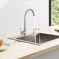CECIPA Fregadero de Cocina un Seno con el grifo 40cm*45 cm Incluyendo Dispensador de Jabón, Rebosadero y Juego de…