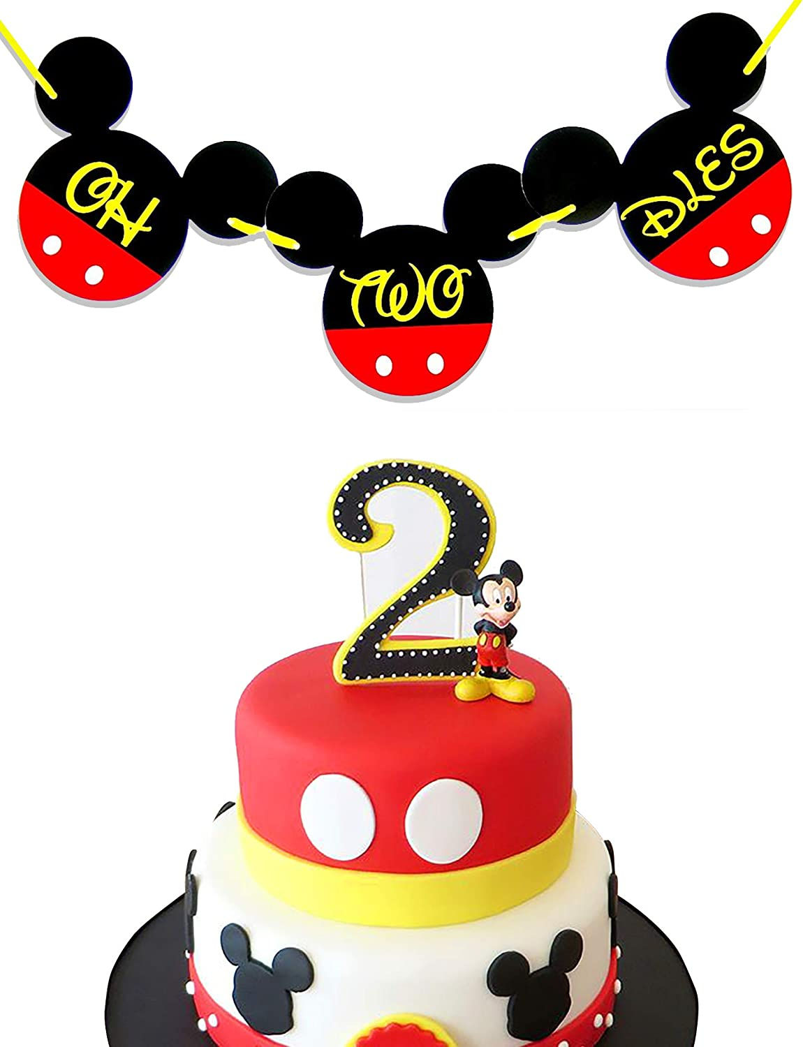 Outstanding Amazon Com Oh Two Dles Mickey Mouse Birthday Banner Mickey Funny Birthday Cards Online Alyptdamsfinfo
