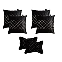 Lushomes Premium Black Car Set (4 pcs Cushions & 2 pcs Neck rest Pillow) with Artistic Stitch