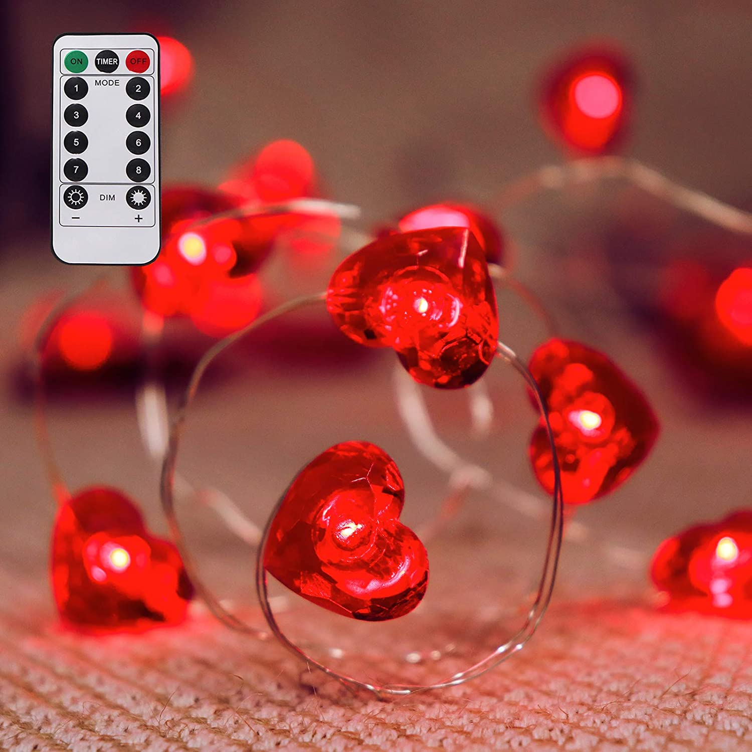 Ivenf Valentine's Day Decorations, 13 ft 40 LEDs Heart Shaped String Lights, for Holidays, Valentines Day, Mother's and Father's Day, Wedding Anniversary and Birthday Party Favors Supplies
