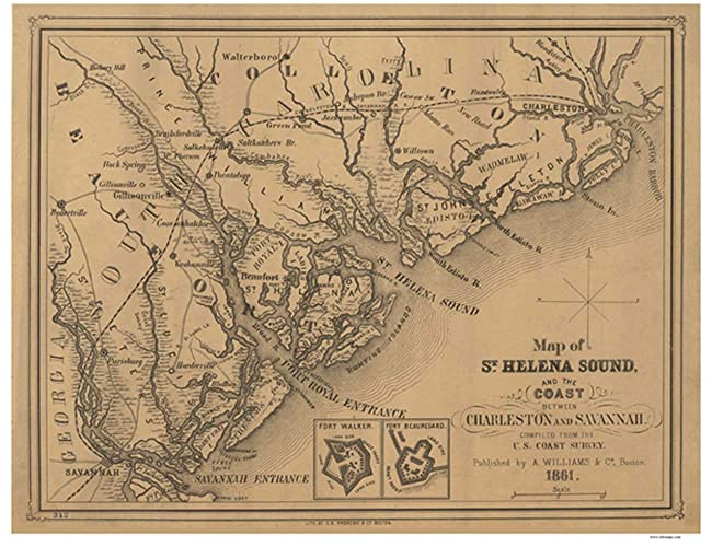 Savannah South Carolina Map.Amazon Com St Helena Sound Coast Map 1861 South Carolina From
