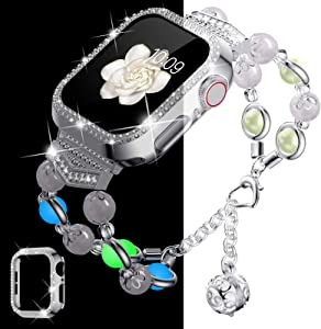 Goton Compatible with Apple Watch Band 40mm with Bling Case, Women Agate Night Luminous Pearl Bracelet Strap with Storage Perfume Pendant Compatible for iWatch Band Series 6 / 5 /4/ SE (Silver, 40mm)