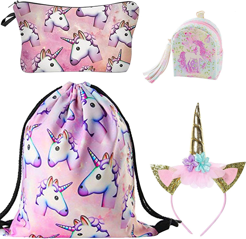 4 Pack: 1 Strohrucksack + 1 Make Up Bag + 1 Stirnband + 1 Geldb/örse DRESHOW Einhorn Kordelzug Rucksack//Make Up Tasche//Halskette//Schl/üsselanh/änger//Armband Geschenk-Sets f/ür M/ädchen