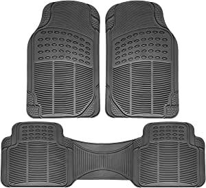 OxGord Ridged All-Weather Rubber Floor-Mats - Waterproof Protector for Spills, Dog, Pets, Car, SUV, Minivan, Truck - 3-Piece Set, Gray